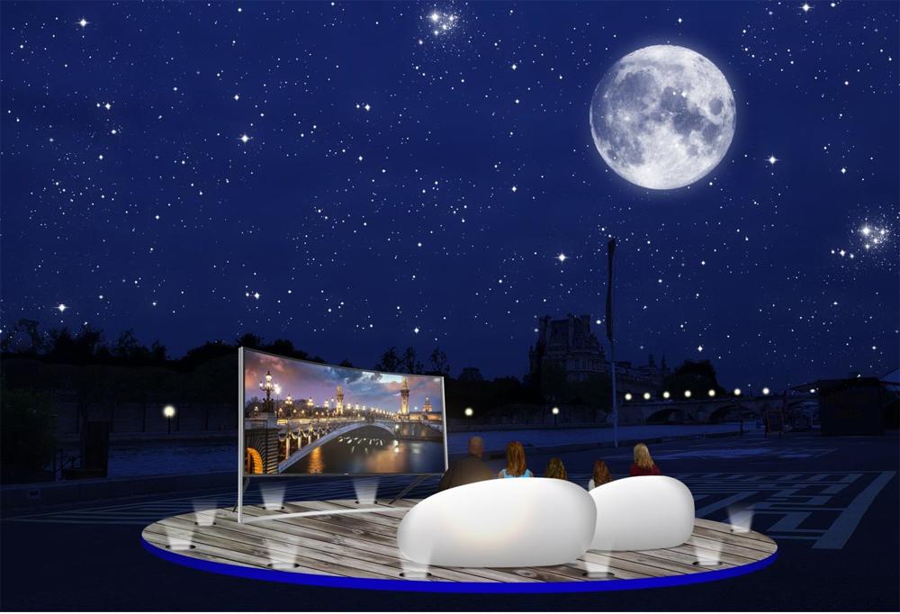 Les Incurvées premier festival des soirées TV en plein air cinéma berges de la Seine Pairs salon VIP septembre 2014 téléviseurs ultra HD incurvés Samsung